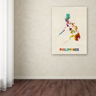 Michael Tompsett 'Philippines Watercolor Map' Canvas Art