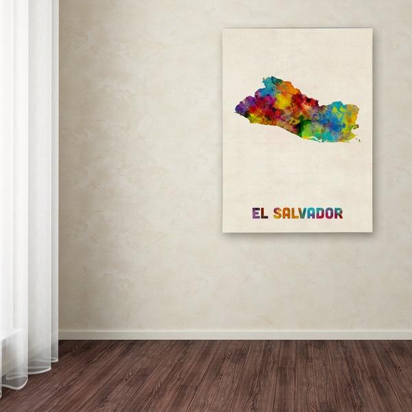 Michael Tompsett 'El Salvador Watercolor Map' Canvas Art