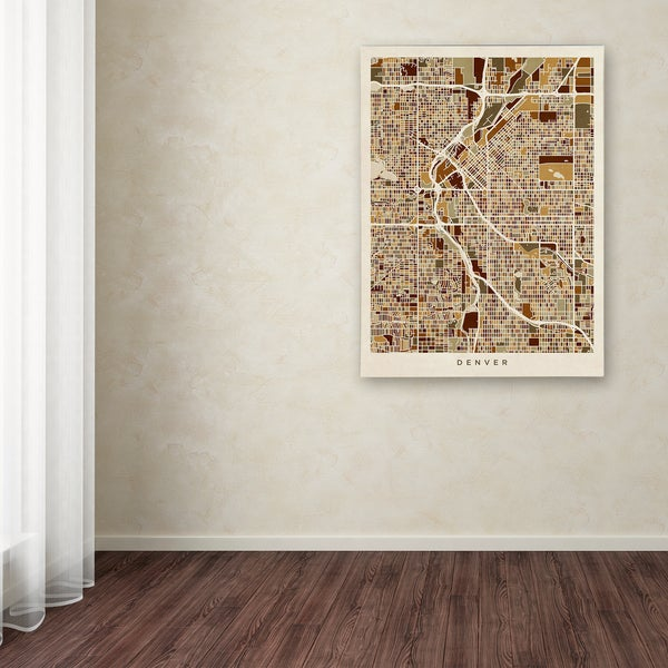 Michael Tompsett 'Denver CO Street Map Brown' Canvas Art