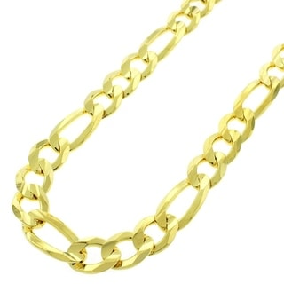 .925 Yellow Goldplated Sterling Silver 10.5-millimeter Solid Figaro Link ITProLux Necklace Chains