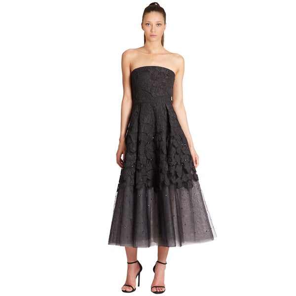 008ac8c9652c Sachin + Babi Noir Black Kristine Lace Tulle Embellished Strapless Gown  Dress Size 6