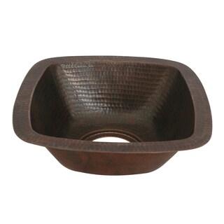 Unikwities 12X12X5 inch Square Undermount Copper Sink Bronze Finish