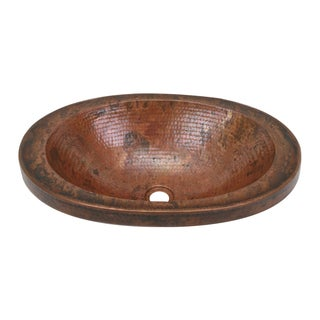 "Unikwities 21X14X5.5 inch Fired Oval Vessel Copper Sink with 2"" apron"
