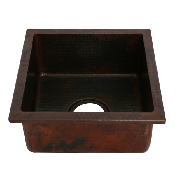 Unikwities 14X14X6.5 Inch Square Undermount Copper Sink Bronze Finish