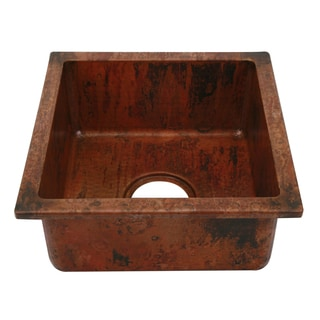 Unikwities 14X14X6.5 inch Square Undermount Copper Sink Fired Finish