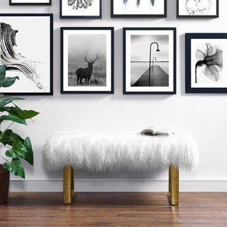Sherpa Sheepskin Bench with Gold Legs
