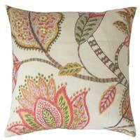 Mazatl Floral Throw Pillow Cover Blush
