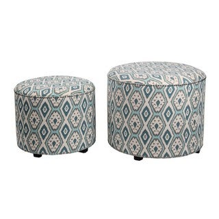 Privilege Contemporary Green Fabric Round Ottomans (Set of 2)