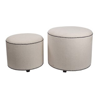 Privilege Beige Wood/Vinyl Fabric Contemporary Round Ottomans (Set of 2)