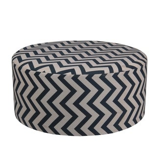 Privilege Transitional Blue/Off-white 36-inch Round Ottoman