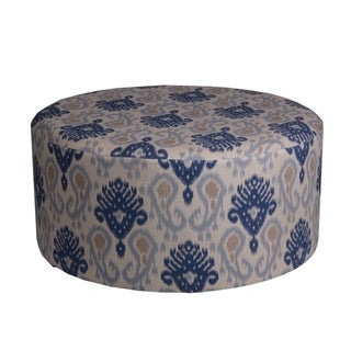 Privilege Transitional Blue 36-inch Round Ottoman