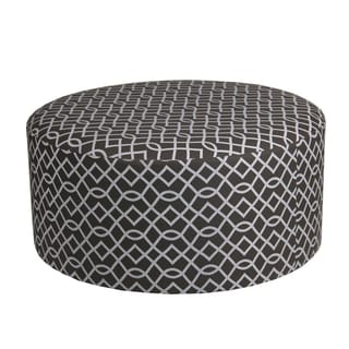 Privilege Transitional 68097 Brown Fabric and Wood 36-inch Round x 18-inch High Ottoman