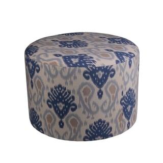 Privilege Blue 24-inch Round Ottoman