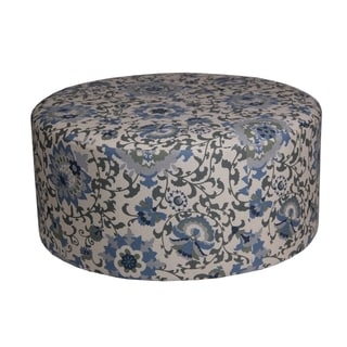 Privilege Blue Fabric/Wood 36-inch Transitional Round Ottoman