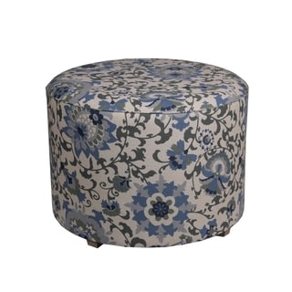 Privilege Blue 24-inch Transitional Round Ottoman