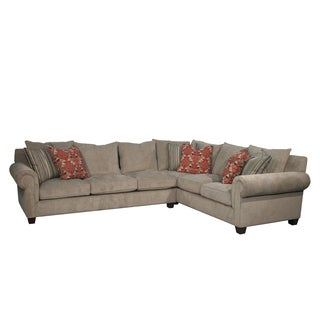 Valley Springs Beige Fabric/Wool LAF 2-piece Sectional Sofa