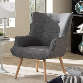 Baxton Studio Alkyone Mid-Century Inspired Grey Fabric Upholstered Occasional Armchair