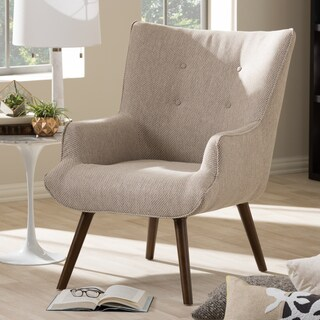 Baxton Studio Alkyone Mid-Century Inspired Beige Fabric Upholstered Occasional Armchair