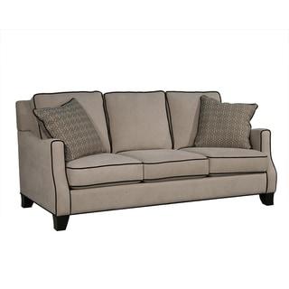 Camary Beige Fabric and Wood Sofa