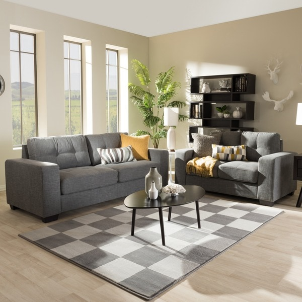 Baxton studio alphaios modern and contemporary shadow grey for 9 piece living room set