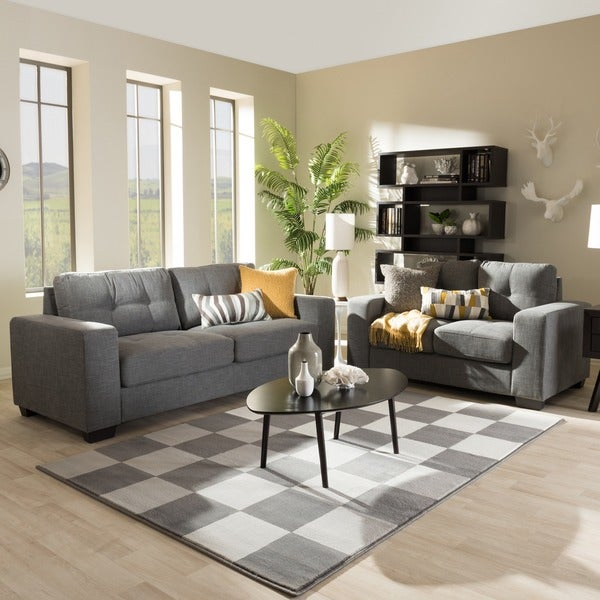 Baxton studio alphaios modern and contemporary shadow grey Living room furniture sets studio