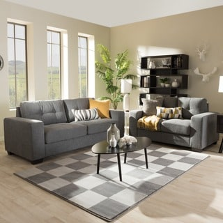 Baxton Studio Alphaios Modern and Contemporary Shadow Grey Fabric Upholstered 2-piece Loveseat and Sofa Livingroom Set