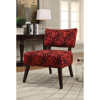 Able Red and Espresso Fabric Accent Chair