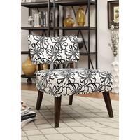 Able Espresso White Fabric Accent Chair