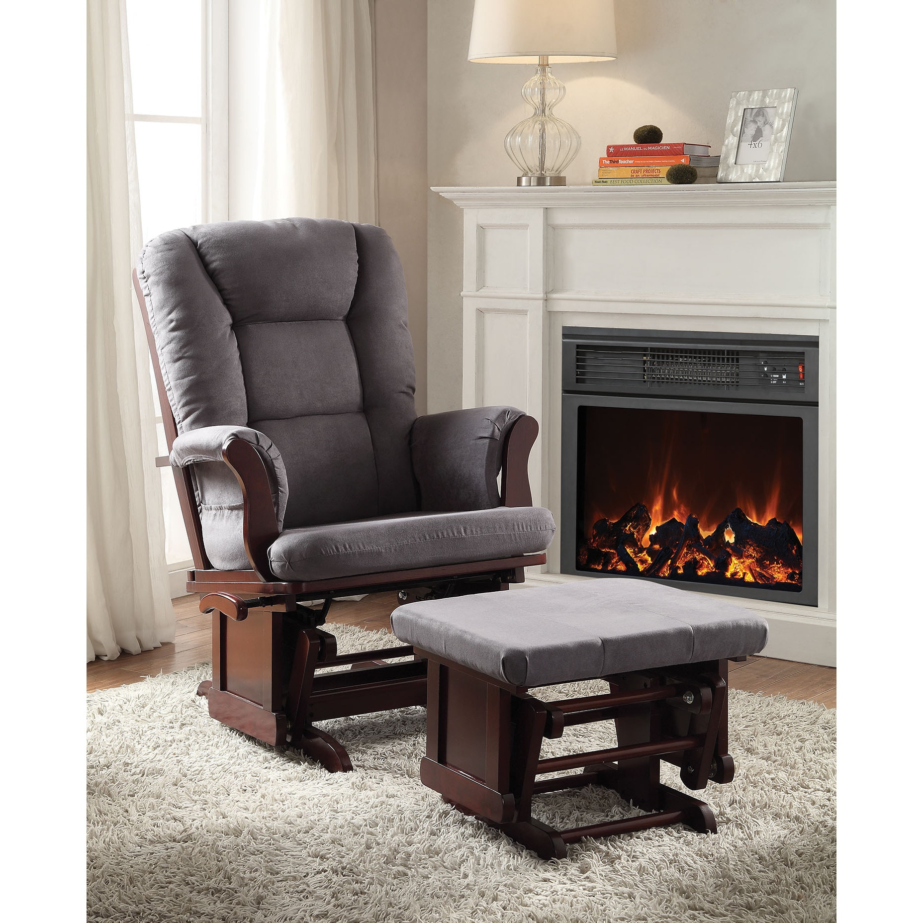 Details about Glider Chair Ottoman Set Baby Nursery Furniture Cherry Finish  Bedroom Gift New