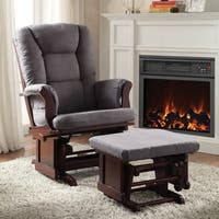 Aeron Grey Microfiber 2-piece Glider Chair and Ottoman Set