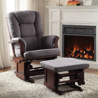 Aeron Grey Microfiber 2-piece Glider Chair and Ottoman Set