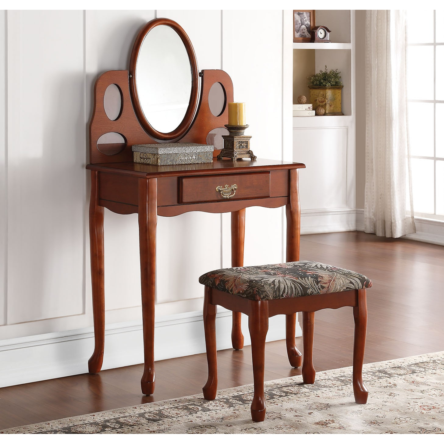 "ACME Aldine Oak Vanity Set (Oak, 28""L x 16""W x 51""H), Brown"