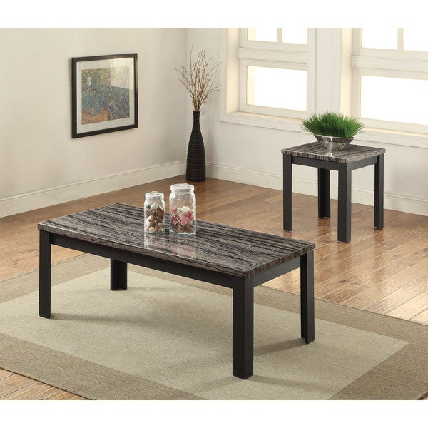 Faux White Marble Coffee Table Set: Arabia Black Faux Marble 2-piece Living Room Table Set