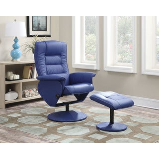 Arche Blue PU/Foam/Metal/Board Recliner Chair and Ottoman (Set of 2)