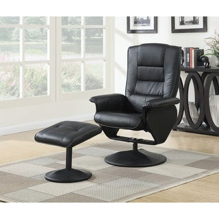 Arche Black PU Recliner Chair and Ottoman Set