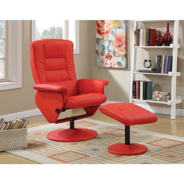 Arche Red PU Recliner Chair and Ottoman