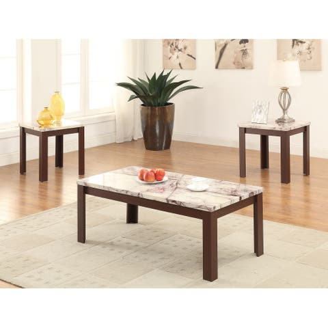 Carly Cherry Faux Marble Veneer/MDF Coffee/End Table 3-piece Set