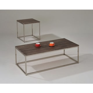 Cecil Walnut and Brushed Nickel 52-inch x 24-inch Coffee Table
