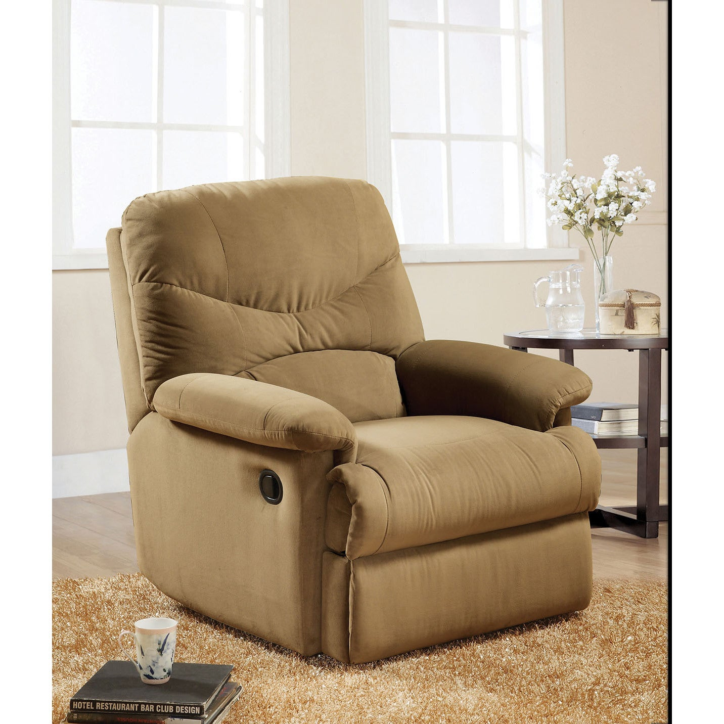 ACME Arcadia Light Brown Microfiber Glider Recliner (Ligh...