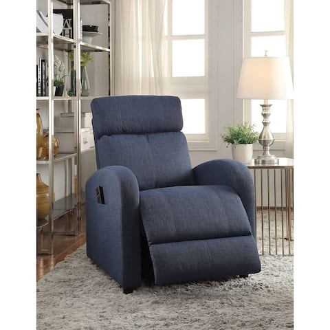 Concha Blue Jute Fabric Recliner with Power Lift
