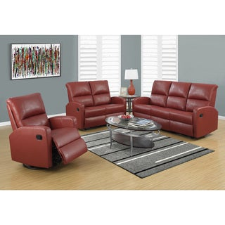 Monarch Red Bonded Leather Reclining Sofa