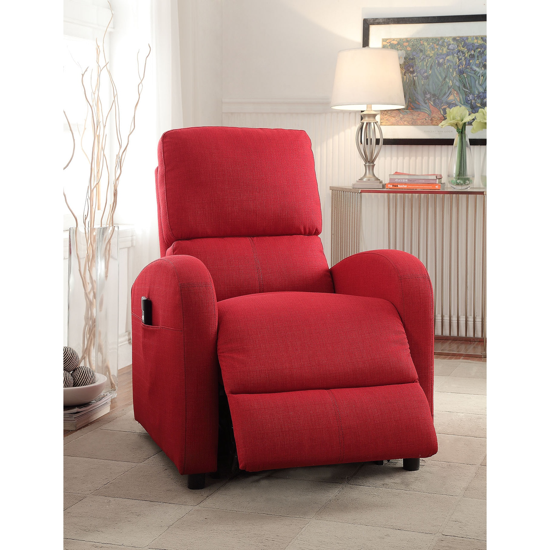ACME Croria Red Fabric Power Life Recliner (Red Fabric, 2...