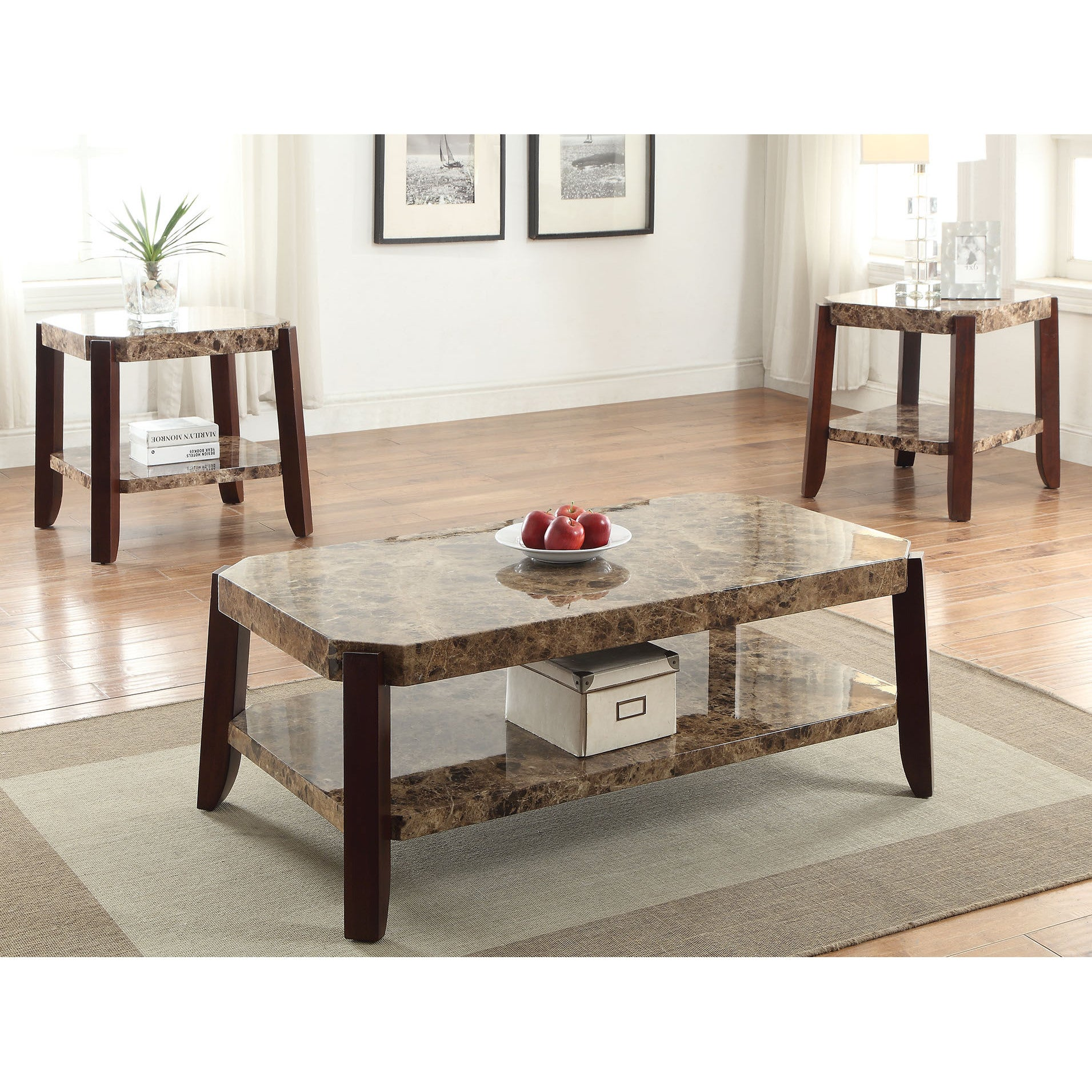 Dacia Faux Marble And Brown MDF End Table Top Exclusive For Living Room  Vintage