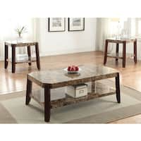 Dacia Faux Marble and Brown MDF End Table
