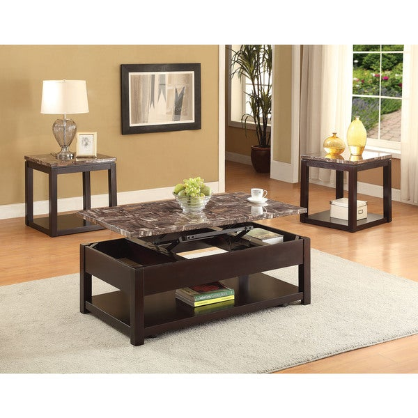 Dorel Home Faux Marble Lift Top Coffee Table: Shop Dusty Espresso Coffee Table With Marble Lift Top