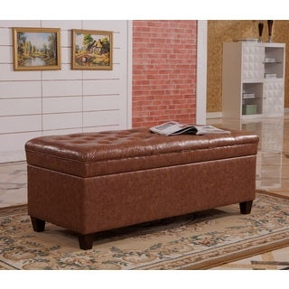 Faux leather Tufted Storage Bench with Twin Hydraulic Hinges