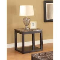 Dusty Espresso Faux Marble Veneer/MDF End Table