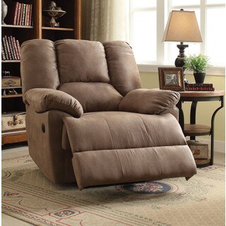 Oliver Light Brown Polished Microfiber Power Motion Recliner
