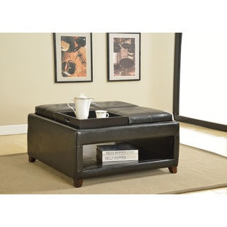 Gosse Dark Brown Faux-leather 4-tray Oversized Ottoman