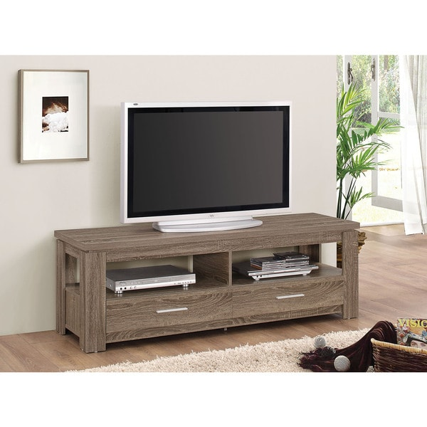 Xanti dark taupe tv stand free shipping today for Overstock free returns